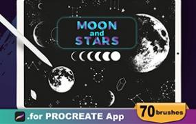 Procreate笔刷卡通月亮和星星元素iPad漫画插画绘画素材